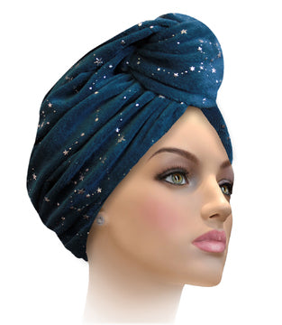 MTERGLX  Miami Terry Galaxy Turban Mallard blue with silver