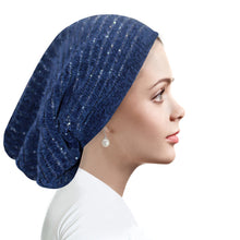 Ribbed Chenille beanie RIBCNLBN Denim blue with silver
