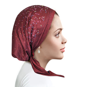D257 Raspberry Denim Pretied with Multi Colored Pearls