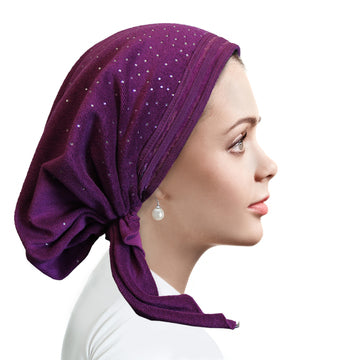 TR851 Terry trimmed pretied Violet orchid