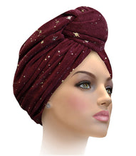 MTERGLX  Miami Terry Galaxy Turban White with Gold