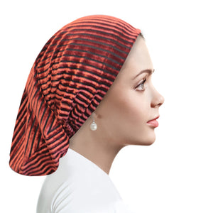 Chiffon Striped Velour Canyon Rose Beanie