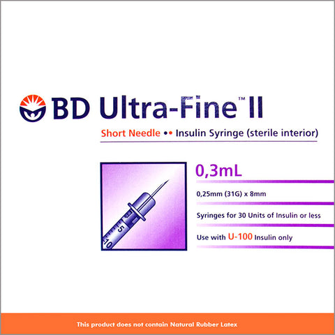BD's Syringes INS 0.3 31G 8mm Ultra Fine