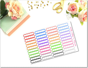 Skinny Scalloped Rainbow Outlined Quarter Labels
