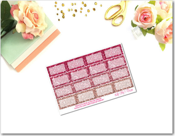 Pink Glitter Squared Half Boxes
