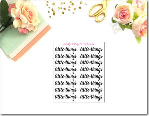 Little Things- Little Script