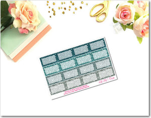 Nautical-Teal Glitter Squared Half Boxes