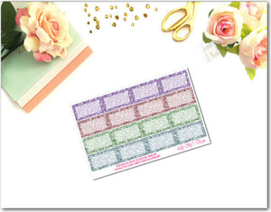 Pastels Glitter Squared Half Boxes