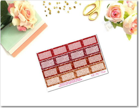 Red-Orange Glitter Squared Half Boxes