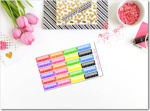 Rainbow Habit Tracker Labels