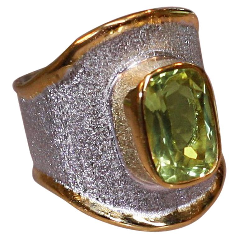MIDAS Peridot Fine Silver and 24 Karat Gold Ring