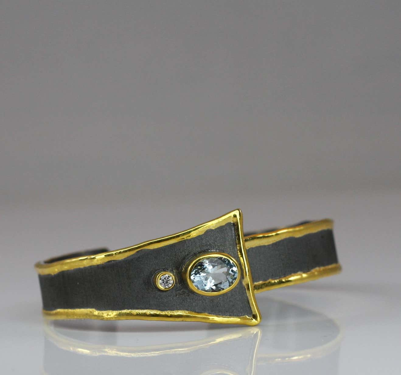 Eclyps Fine Silver and Gold Aquamarine and Diamond Two-Tone Bracelet
