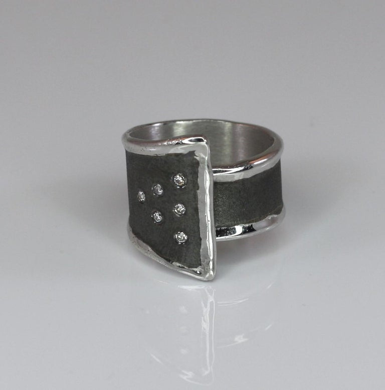 Hephestos Fine Silver and Oxidized Rhodium Geometric Ring with Diamonds