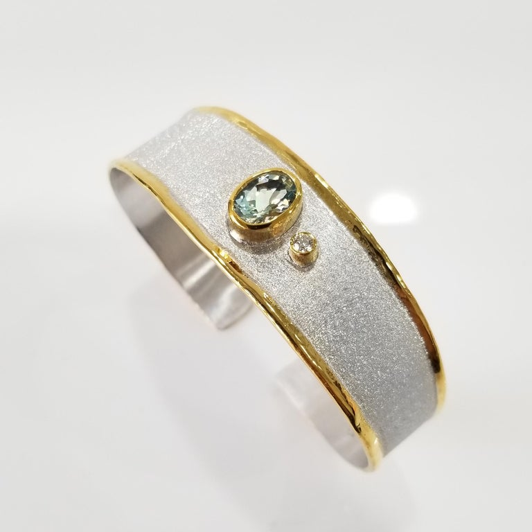MIDAS Topaz and Diamond Silver and Gold Bracelet