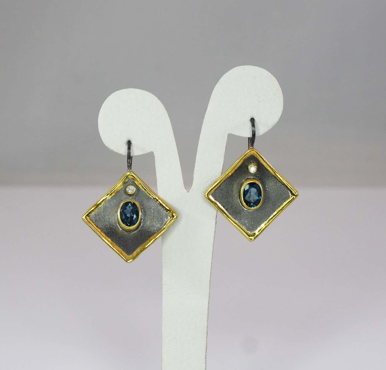 Eclyps Topaz Earrings in Fine Silver Finished with Rhodium and Gold
