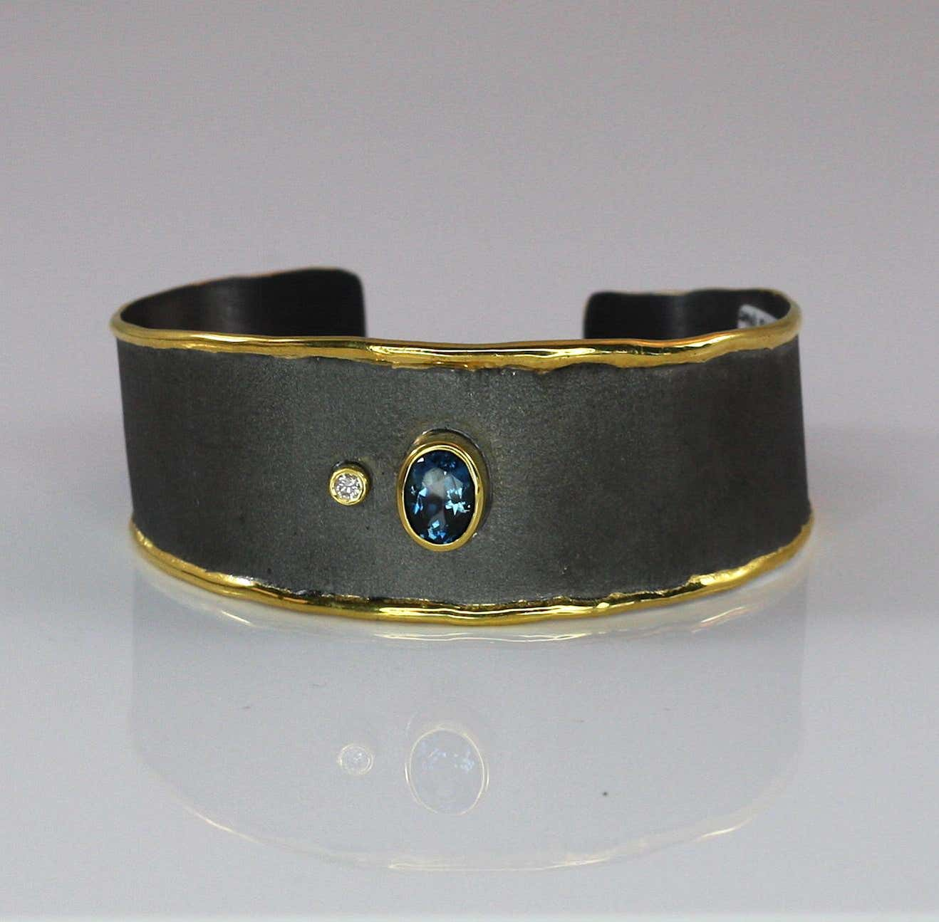 Eclyps Topaz Diamond Bracelet in Silver Black Rhodium and Pure Gold