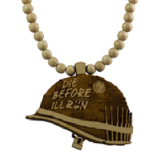 Army Helmet Pendant Good Wood Natural