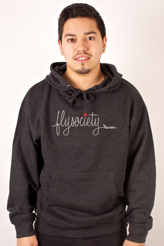 Plane Script Hoodie Fly Society Charcoal