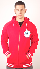 Eyeball Varsity Zip Up Hoodie Mishka Red