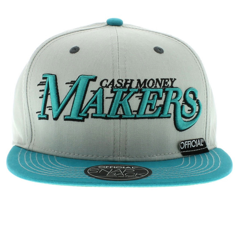 Cash Money Makers Snapback Official Gray/Teal