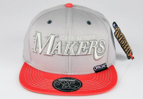 Cash Money Makers Snapback Official Gray/Mango Pink