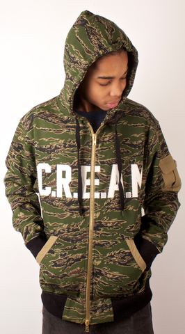 C.R.E.A.M. Tiger Style Zip Up Hoodie Wu-Tang Camo