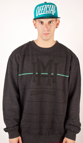 Fine Line Crewneck Mighty Healthy Charcoal Black