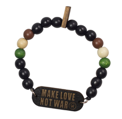 Make Love, Not War Bracelet Good Wood Black