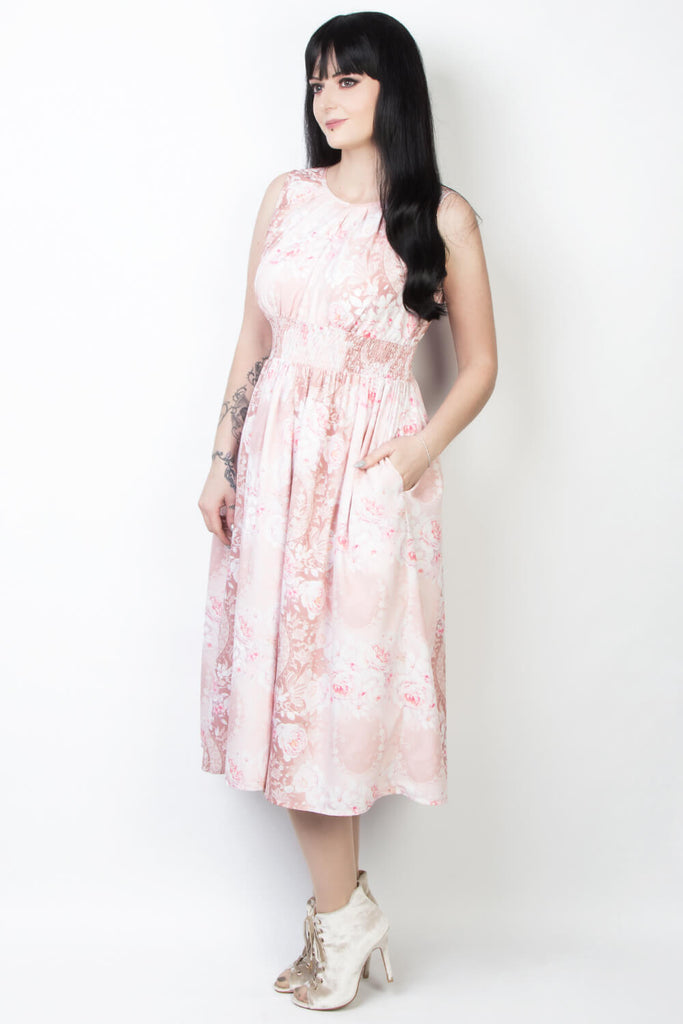 Elyzza London Plus Size Floral Print Victorian Dress