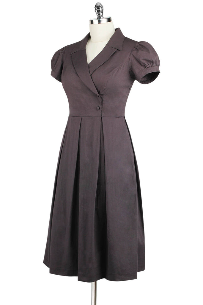 Elyzza London 1950s Cotton Pleated Flare Dress