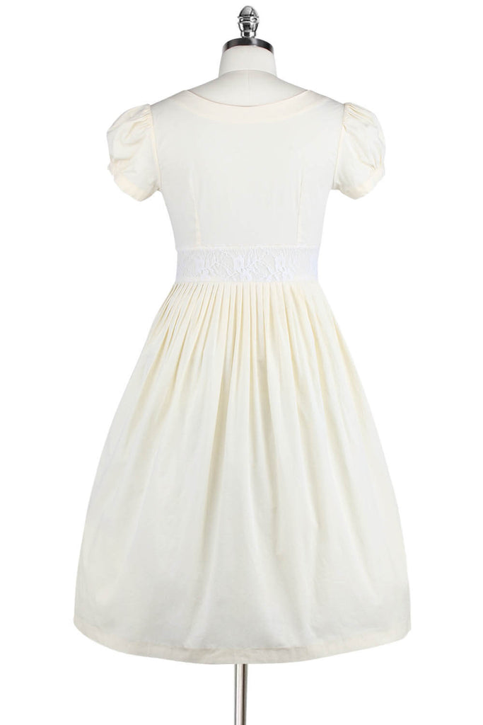 Elyzza London Plus Size 1950s Cotton Short Puff Sleeve Flare Dress