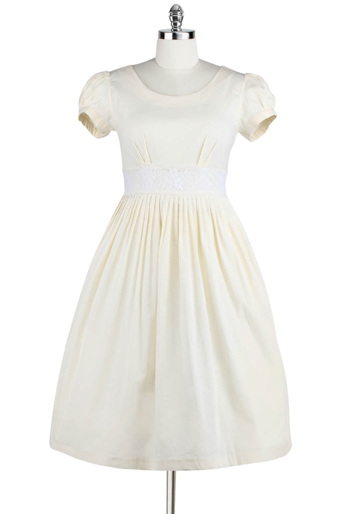 Elyzza London 1950s Cotton Short Puff Sleeve Flare Dress