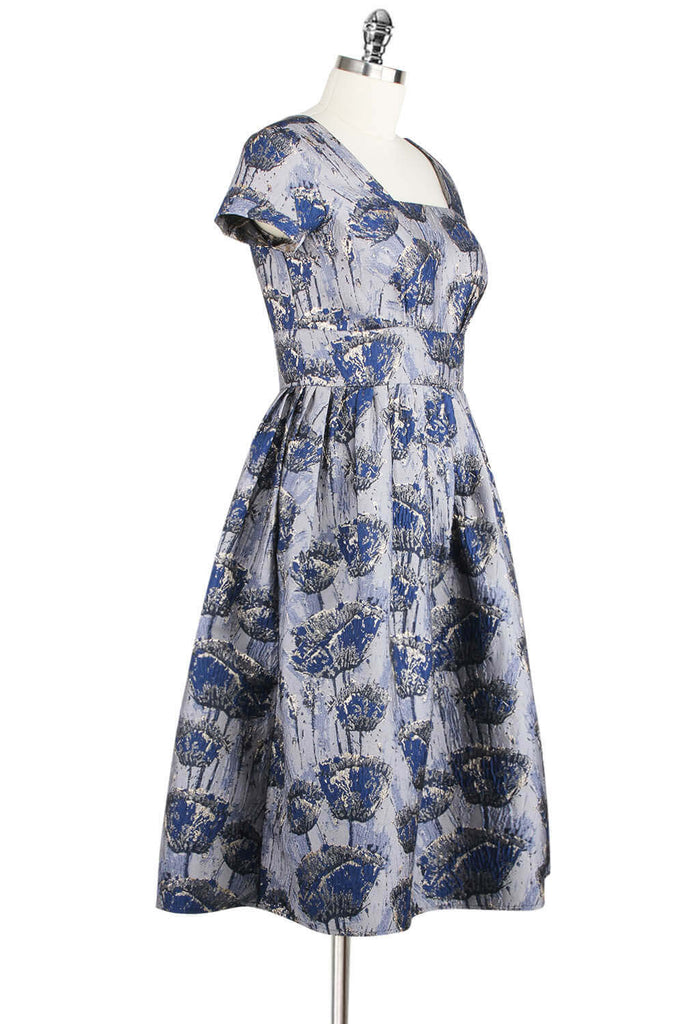 Elyzza London 1950s Style Plus Size Jacquard Knee Length Flare Dress