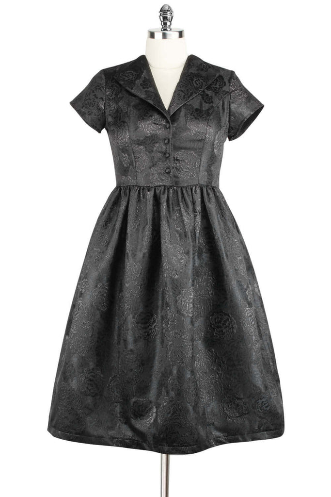 Elyzza London 1950s Style Plus Size Fit and Flare Jacquard Dress