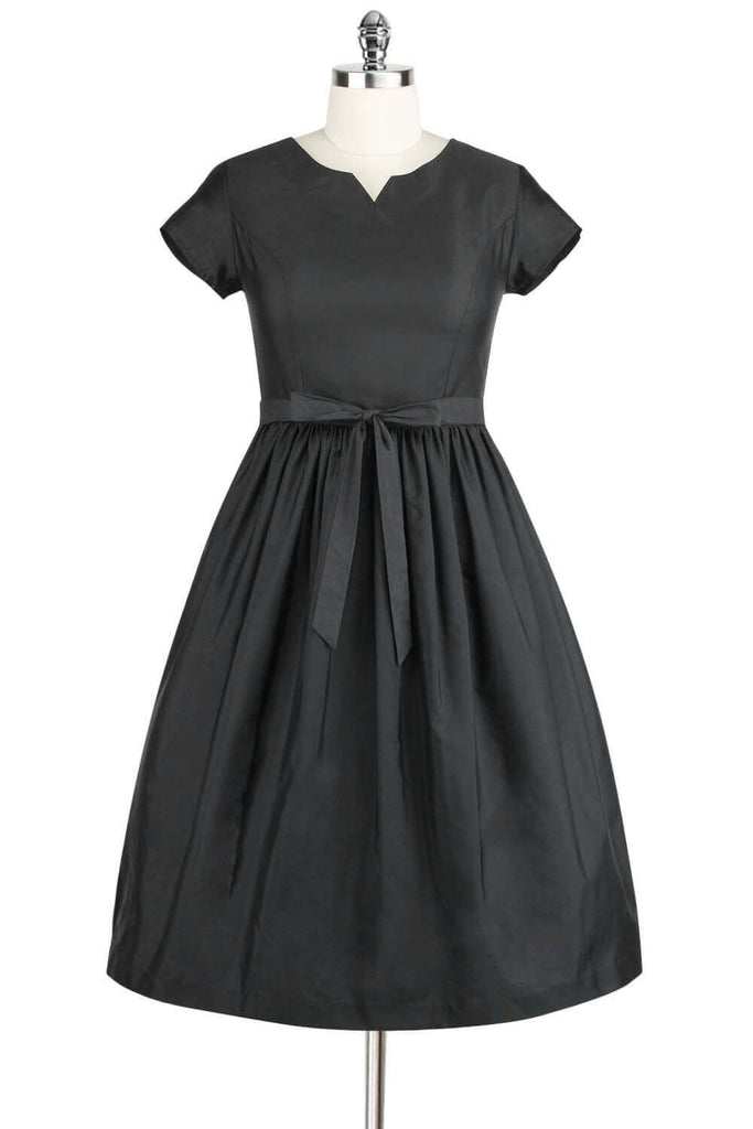 Elyzza London 1950s Style Black Gathered Flared Dress