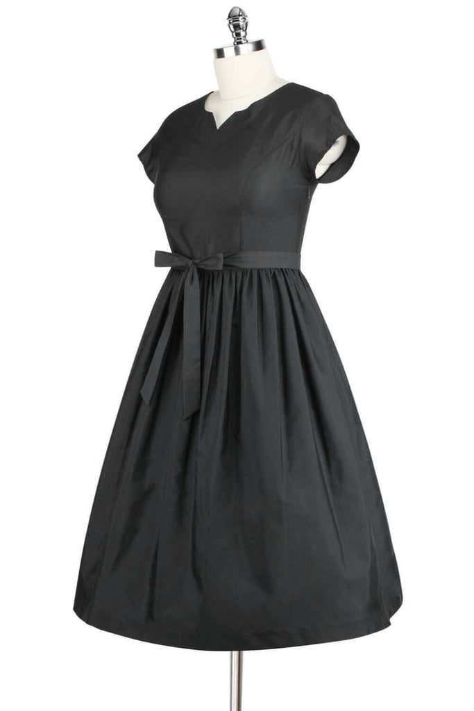 Elyzza London 1950s Style Plus Size Black Gathered Flared Dress