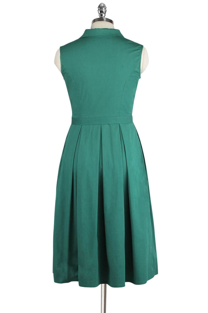 Elyzza London Plus Size 1950s Sleeveless Cotton Pleated Dress