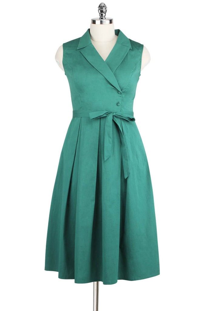 Elyzza London 1950s Sleeveless Cotton Pleated Dress