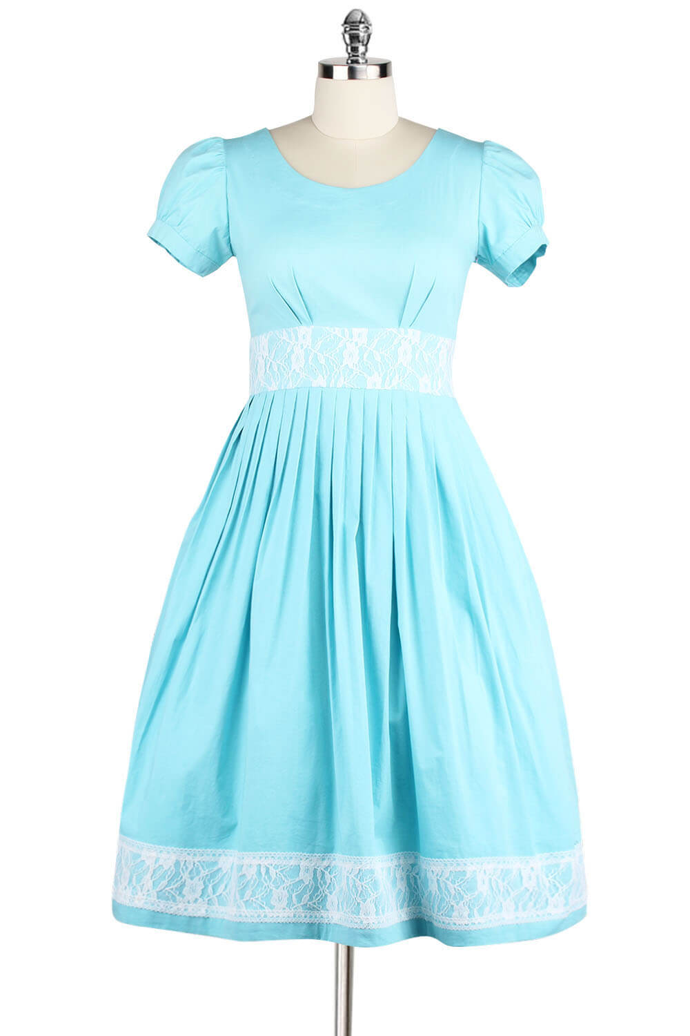 1950s Style Round Neck Cotton Flare Dress