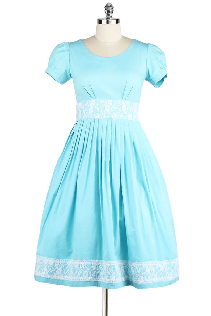 Plus Size 1950s Style Round Neck Cotton Flare Dress