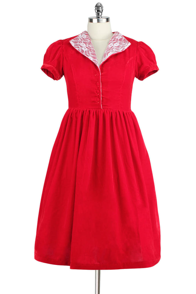 Elyzza London 1950s Red Velvet Flare Dress