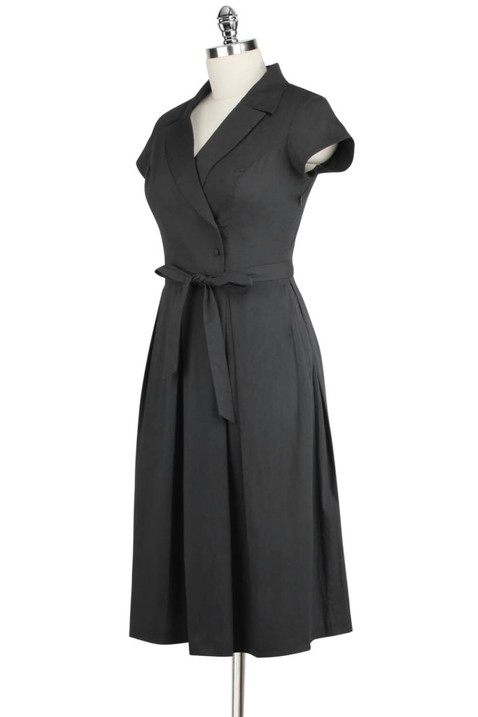 Elyzza London 1950s Black Cotton Flare Dress