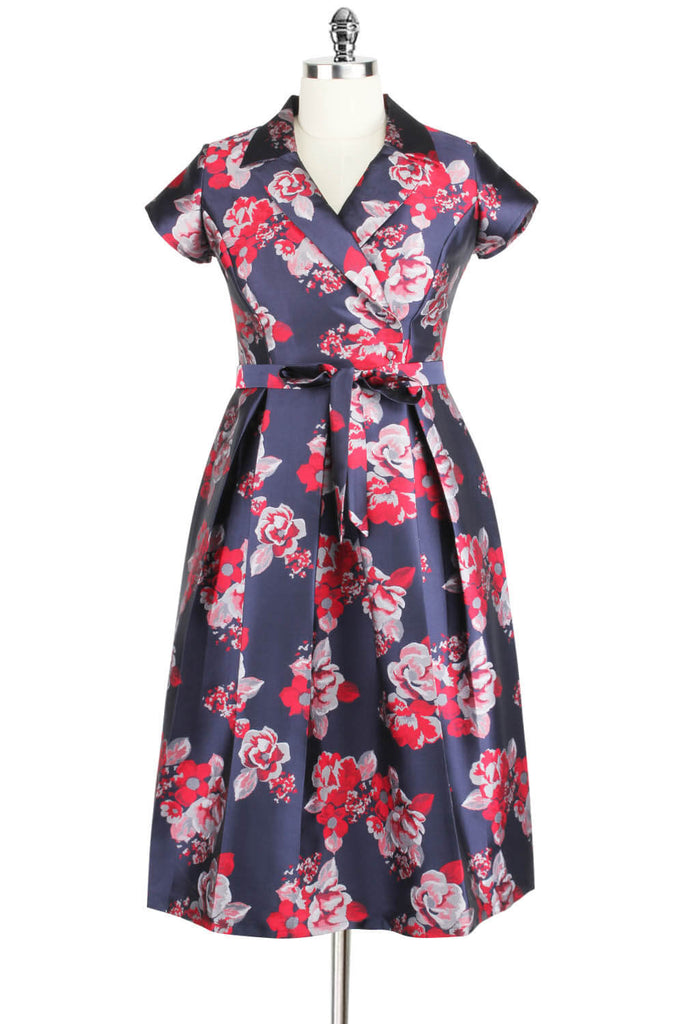 Elyzza London 1950s Jacquard Faux Wrap Flare Dress