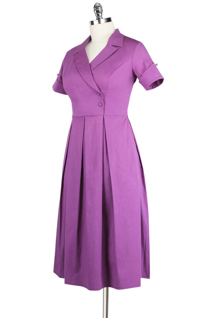 Elyzza London 1950s Cotton Faux Wrap Dress