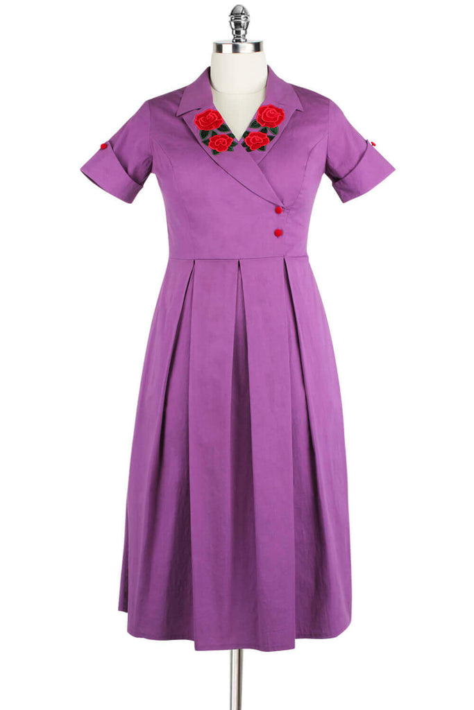 Elyzza London 1950s Embroidered Surplice Neck Pleated Flare Dress