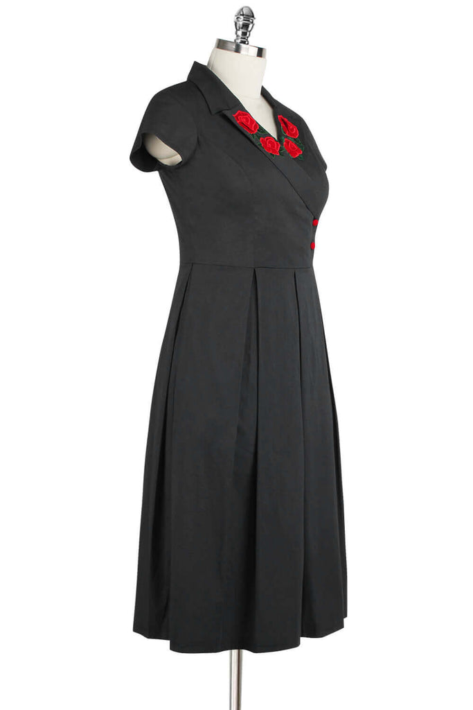 Elyzza London 1950s Embroidered Faux Wrap Pleated Flare Dress