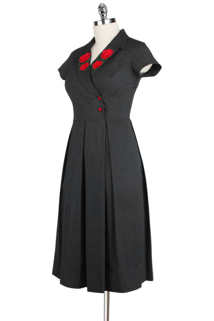 Elyzza London 1950s Plus Size Embroidered Faux Wrap Pleated Flare Dress