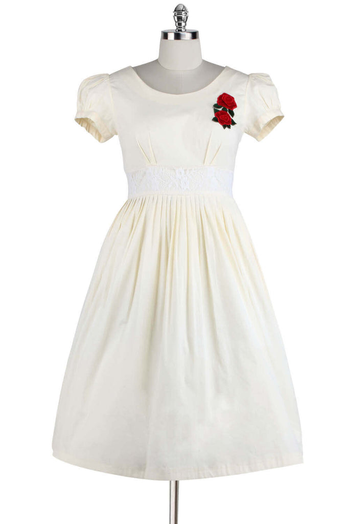 Elyzza London 1950s Plus Size Flare Dress with Rose Embroidered Patch