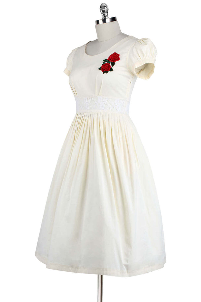 Elyzza London 1950s Flare Dress with Rose Embroidered Patch