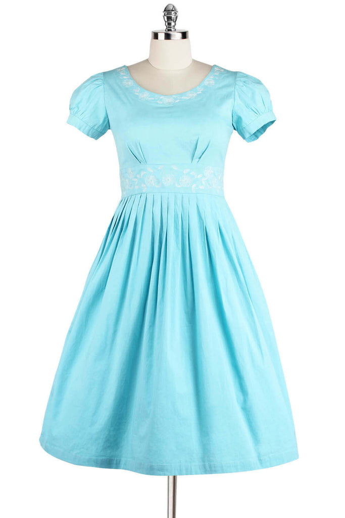 Elyzza London 1950s Embroidered Round Neck Flare Dress